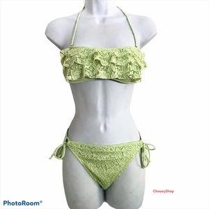 Victoria Secret Lace Ruffle Bikini Set Light Green
